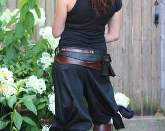 REDUCED PRICE black tie, silly, Jedi inspired, pirate pants, one size waist, length to your size  cotton, bellydance, SCA, cosplay