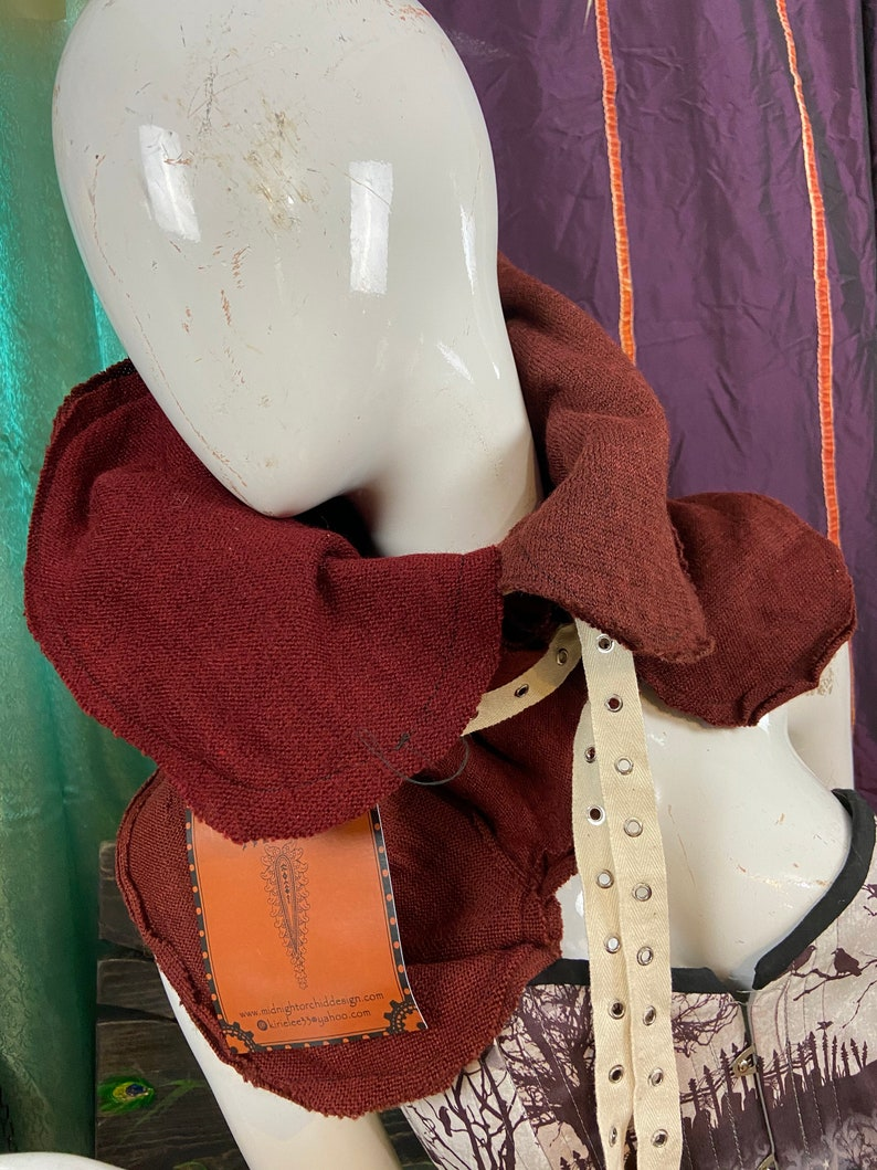 neck warmer cowl patchwork upcycled festival wear winter scarf Hand dyed BURGUNDY wool patchwork Buckled NO zipper
