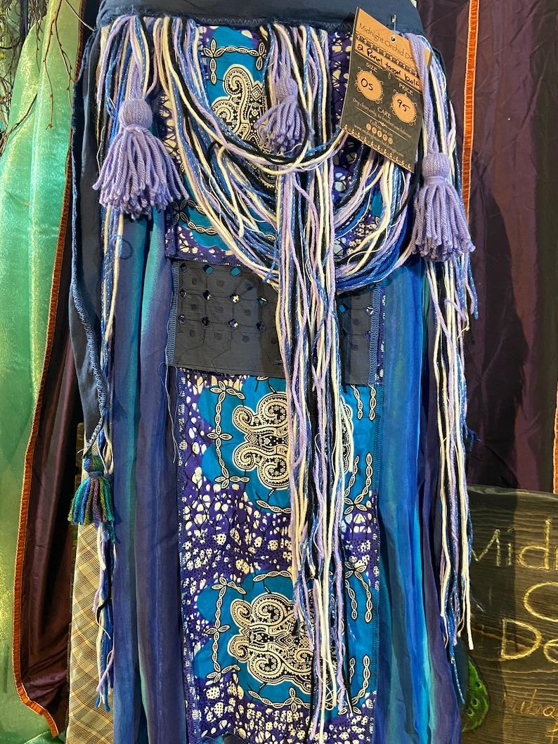 tribal Blue and purple 2 panel bellydance tassel belt festival wear one size 26-80+ fashion
