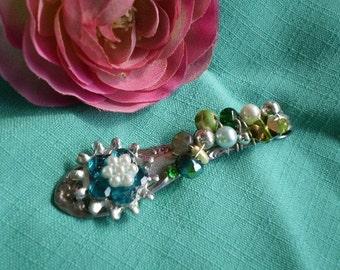 Green flower spoon handle pendant - repurposed silverware - brideamaid gift