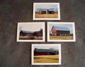 Red Barn Medley-set of 4 blank notecards