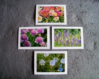 Flowers Medley-set of 4 blank notecards- online pics are blurry, real pics aren't