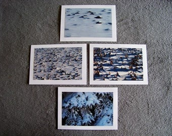 Snow Textures Medley-set of 4 blank notecards- online pics are blurry, real pics aren't