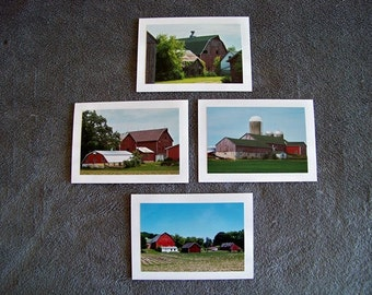 Red Barnstead Medley-set of 4 blank notecards