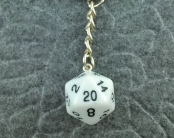 White D20 Keychain, D20 keychain, Dice Keychain, Dungeons n Dragons Keychain, Pathfinder, Dungeouns and Dragons Keychain