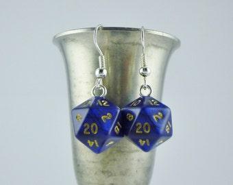 Mini Blue D20 Earrings Dice Earrings, Geekery, Gamer Earrings, Dungeons and Dragons Earrings