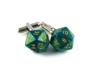 Green D20 Cufflinks, Dice Cufflinks, Men's Wedding Gift, Dungeons and Dragons, dice jewelry, geek, geeky, DND, geekery, Men's Nerdy  Wedding