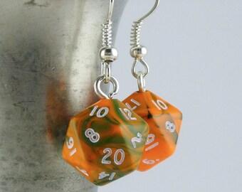 Mini Toxic Orange D20 Earrings Dice Earrings, Geekery, Gamer Earrings, Dungeons and Dragons Earrings