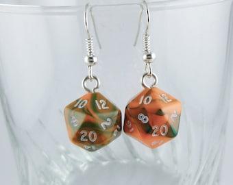 Mini D20 Earrings Orange, Dice Earrings, Geeky Earrings, Gamer Earrings, Dungeons and Dragons Earrings