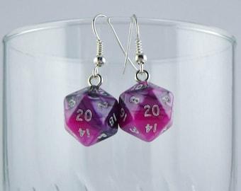 D20 Earrings, Pink and Black Mini Dice Earrings, Geeky Earrings, Gamer Earrings, Dungeons and Dragons Earrings
