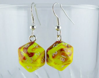 Mini Toxic Yellow D20 Earrings Dice Earrings, Geekery, Gamer Earrings, Dungeons and Dragons Earrings