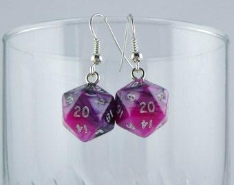 Mini Pink and Black D20 Earrings, Dice Earrings, Geeky Earrings, Gamer Earrings, Dungeons and Dragons Earrings