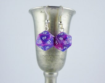 Mini Pink and Blue D20 Earrings, Dungeons and Dragons, Dice Earrings, dice jewelry, geek earrings, geeky jewelry, DnD earrings