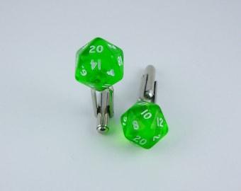 Mini Gem Green D20 Dice Cufflinks, Dungeons and Dragons, dice jewelry, geek, geeky, DND, geekery