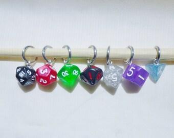 Mini Rainbow Dice Stitch Markers, D&D Stitch Markers, D20 knitting, Dice Knitting, D20 Stitch Markers, Pathfinder, DnD Markers,