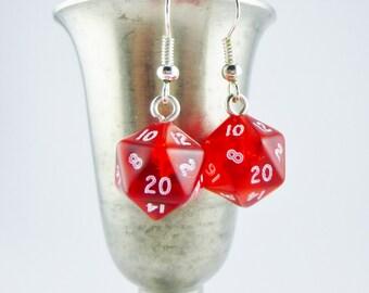 Mini Red D20 Earrings, Dungeons and Dragons Earrings, Mini Dice Earrings, Table Top Gamer D20, Nerdy Earrings,