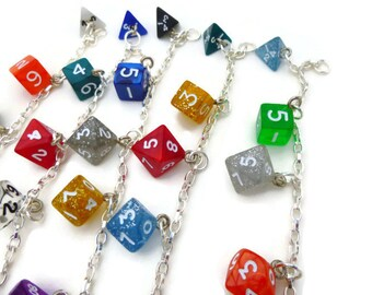 Rainbow Dice Bracelet, Mini Set of Dice Jewelry Charms on Silver Plated Chain