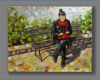 """FREE SHIPPING Original Oil Painting Where are my Glasses Figures 11""""x14"""" Wall Decor Wall Art Wall Hangings Painting Art Home Decor"""