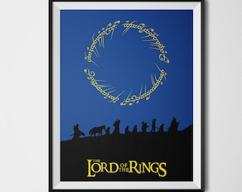 Lord Of The Rings Poster, Fellowship of The Ring, The Hobbit, Minimalist Wall Art, Lord of The Rings Decor, Lord Of The Rings Art Print