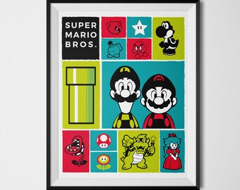Super Mario Poster, Super Mario Icon Print, Mario Icons, Video Game Decor, Gaming Art, Video Game Poster, Super Mario Bros, Super Mario Art