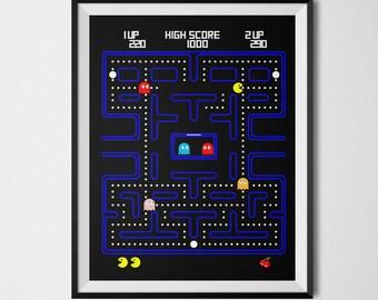 Pac Man Poster, Video Game Print, Video Game Print, Atari, Retro Gaming, Geek Decor, Arcade Game, Pac Man, Video Game Decor, Geek Poster