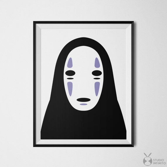 No Face Spirited Away Poster Kaonashi Print Faceless Mask Etsy