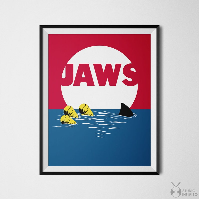 image relating to Printable Movie Posters titled Jaws Poster, Jaws Print, 80s Video Posters, Video clip Printables, Jaws Online video Poster, Small Wall Artwork, Motion picture Poster Artwork, Online video Artwork, Very low decor