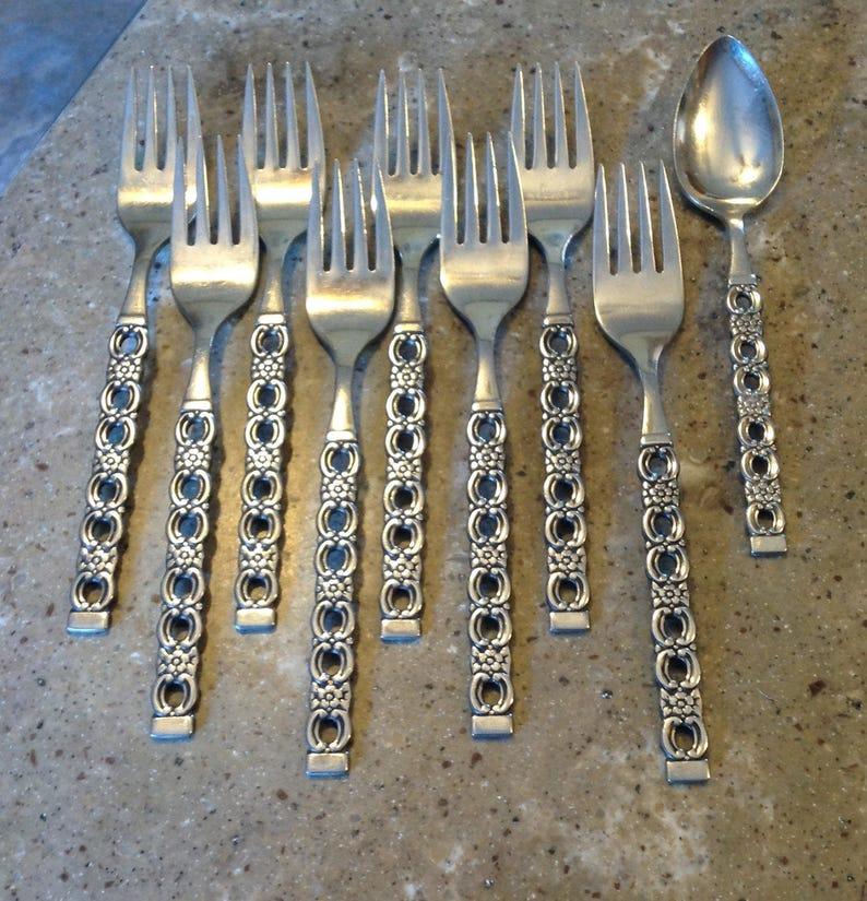 Vintage Oneida Applique Stainless Flatware Salad Fork 8 Piece Filler Set