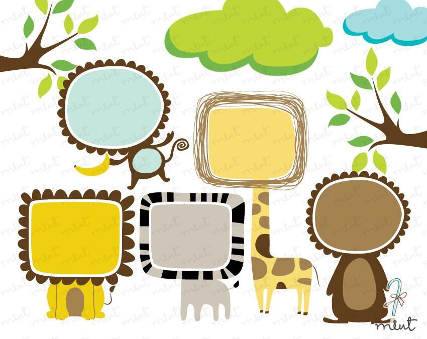 50 % OFF SALE ein wenig Spaß Tier Rahmen Clipart Kits für | Etsy