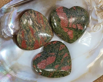 Unakite Heart Worry Stone, Meditation, Chakra Magical Fire