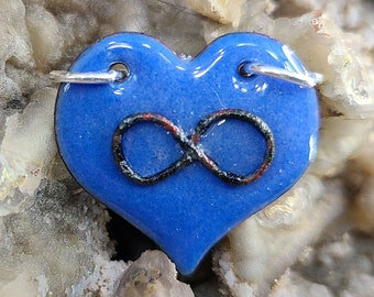 Blue Polyamory Infinity Heart Pendant Necklace Handmade by Magical Fire