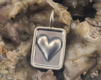 Pewter Heart Pendant Magical Fire