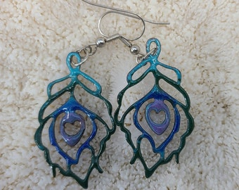 Cool Enamel Peacock Feather Earrings by Magical Fire