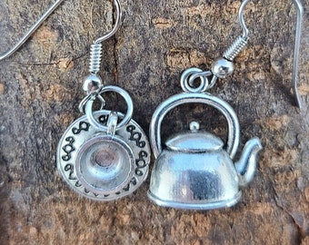 Asymmetric Whimsical Teapot and Teacup Earrings Magical Fire