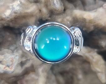 Adjustable Crystal Ball Mood Ring with Interpretation Card Magical Fire