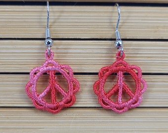 Pink Lace Peace Sign Earrings Magical Fire