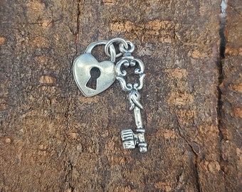 Sterling Silver Lock and Key Pendant (style 5) Magical Fire