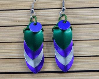 Handmade Green and Purple Dragon Scale Earrings Magical Fire