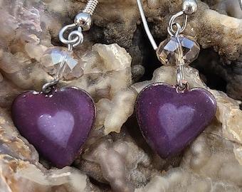 Two-Tone Purple and Swarovski Enamel Heart Earrings by Magical Fire