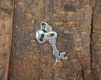 Sterling Silver Lock and Key Pendant style 3 Magical Fire
