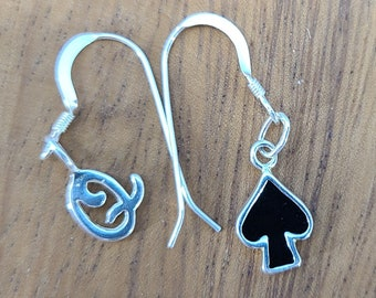 Queen of Spades Asymetric Sterling Silver Onyx Earrings Magical Fire