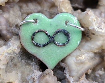 Green Polyamory Infinity Heart Pendant Necklace Handmade by Magical Fire