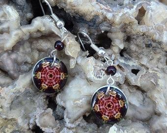 Lightweight Resin Mandala Earrings Magical Fire