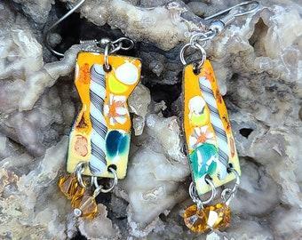 Fun Colors Swarovski and Enamel Asymmetric Earrings Magical Fire