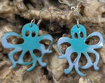 Cool Octopus Enamel Earrings by Magical Fire