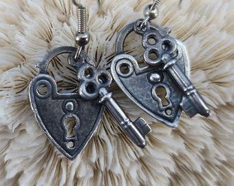 Heart Lock and Heart Key Earrings Magical Fire
