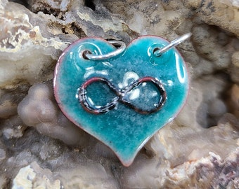 Teal Aqua Polyamory Infinity Heart Pendant Necklace Handmade by Magical Fire