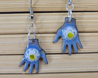 Handcrafted Blue Enamel Hands and Flower Earrings by Magical Fire