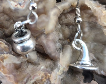 Asymmetric Whimsical Witch Hat and Cauldron Earrings Pagan, Wiccan Magical Fire