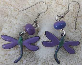 Purple Dragonfly and Lampwork Earrings by Magical Fire
